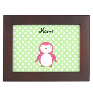 Personalized name pink penguin green polka dots memory box