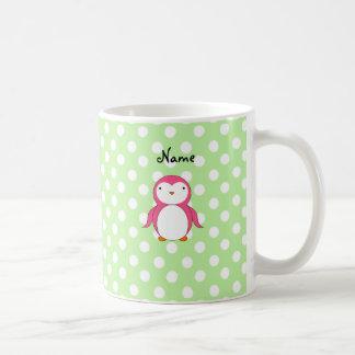 Personalized name pink penguin green polka dots mugs