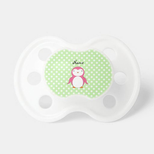 Personalized name pink penguin green polka dots BooginHead pacifier