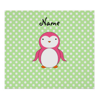 Personalized name pink penguin green polka dots posters