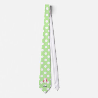 Personalized name pink penguin green polka dots tie