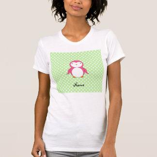 Personalized name pink penguin green polka dots shirt
