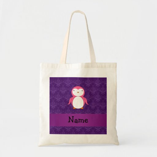 Personalized name pink penguin purple damask bags