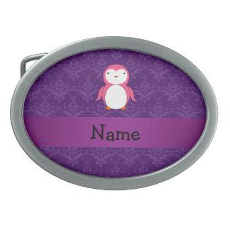 Personalized name pink penguin purple damask belt buckle