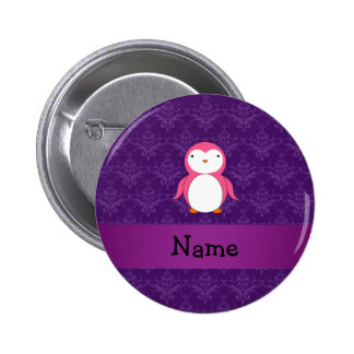 Personalized name pink penguin purple damask button