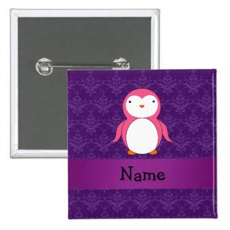 Personalized name pink penguin purple damask pinback button