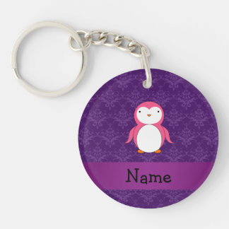 Personalized name pink penguin purple damask key chain