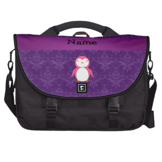 Personalized name pink penguin purple damask bag for laptop
