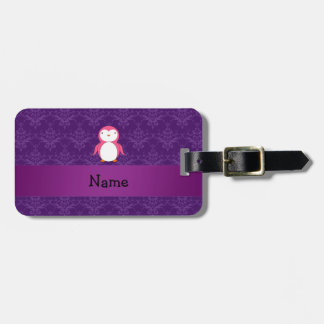 Personalized name pink penguin purple damask luggage tag