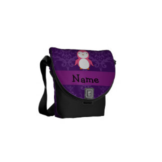 Personalized name pink penguin purple damask messenger bags