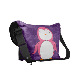 Personalized name pink penguin purple damask courier bags