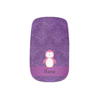 Personalized name pink penguin purple damask minx ® nail wraps
