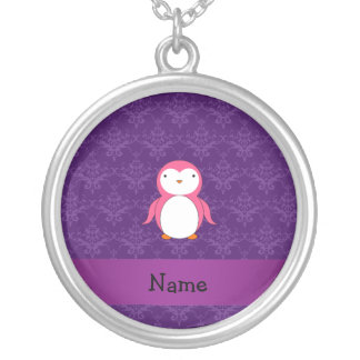 Personalized name pink penguin purple damask necklaces