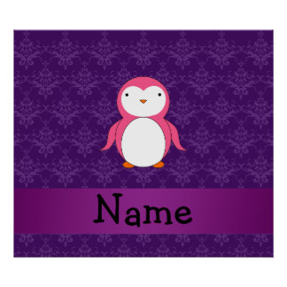 Personalized name pink penguin purple damask posters