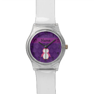 Personalized name pink penguin purple damask watch