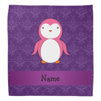 Personalized name pink penguin purple damask kerchief