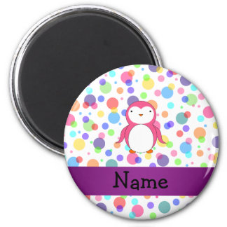 Personalized name pink penguin rainbow polka dots 2 inch round magnet