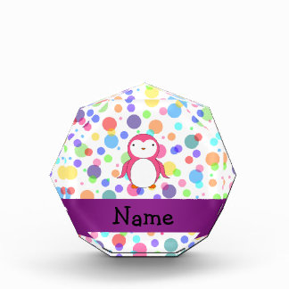Personalized name pink penguin rainbow polka dots award