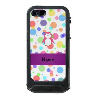 Personalized name pink penguin rainbow polka dots incipio ATLAS ID™ iPhone 5 case