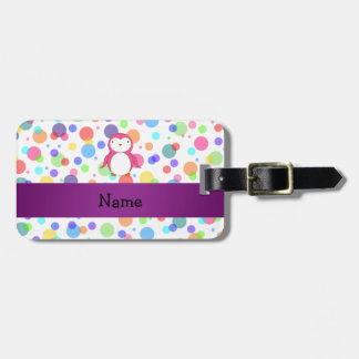 Personalized name pink penguin rainbow polka dots luggage tag