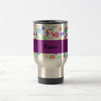 Personalized name pink penguin rainbow polka dots 15 oz stainless steel travel mug