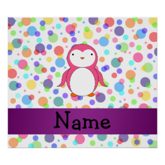 Personalized name pink penguin rainbow polka dots poster