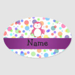 Personalized name pink penguin rainbow polka dots oval sticker