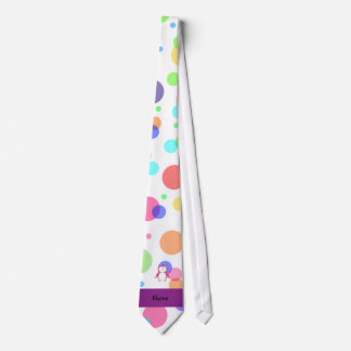 Personalized name pink penguin rainbow polka dots tie
