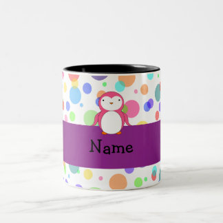 Personalized name pink penguin rainbow polka dots Two-Tone coffee mug