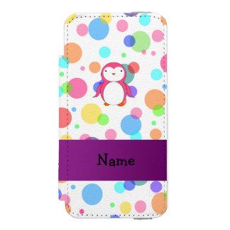 Personalized name pink penguin rainbow polka dots incipio watson™ iPhone 5 wallet case