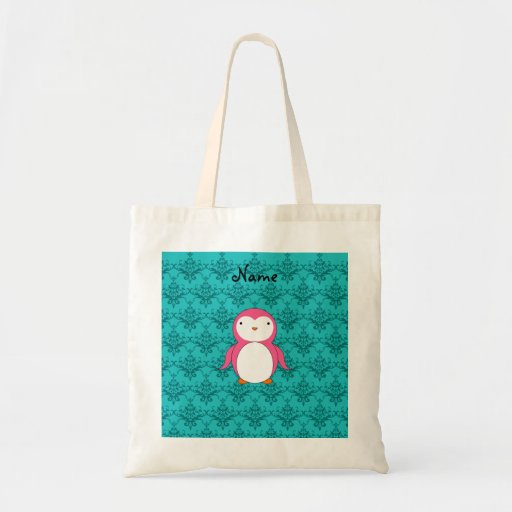 Personalized name pink penguin turquoise damask canvas bags