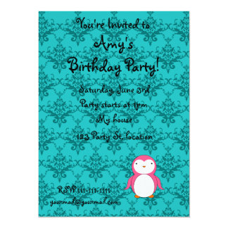 Personalized name pink penguin turquoise damask custom announcement