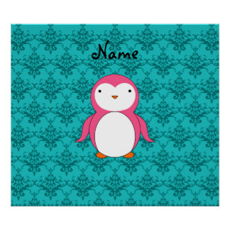 Personalized name pink penguin turquoise damask posters