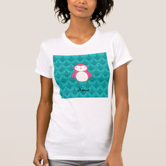 Personalized name pink penguin turquoise damask tshirts