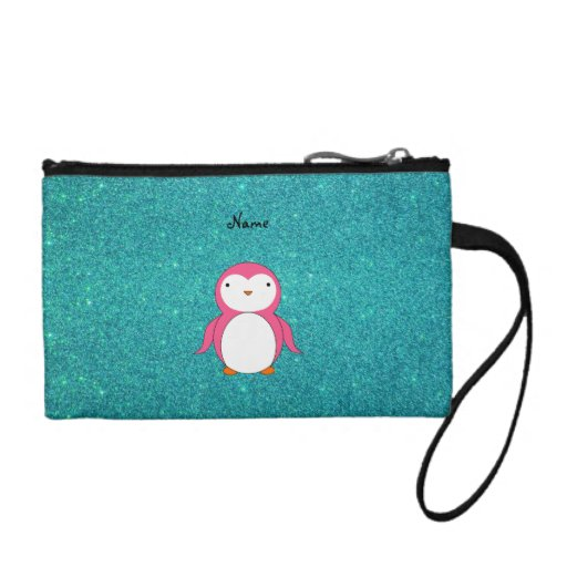 Personalized name pink penguin turquoise glitter coin purses