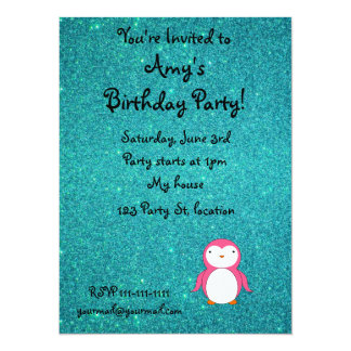 Personalized name pink penguin turquoise glitter custom announcements