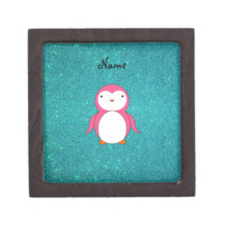 Personalized name pink penguin turquoise glitter jewelry box