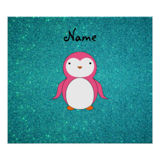Personalized name pink penguin turquoise glitter posters