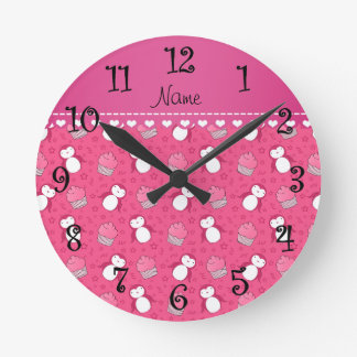 Personalized name pink penguins cupcakes stars round clock