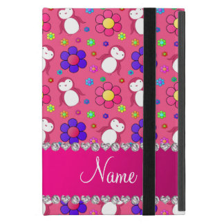 Personalized name pink penguins flowers cover for iPad mini