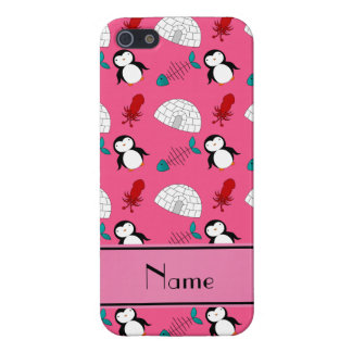 Personalized name pink penguins igloo fish squid case for iPhone SE/5/5s