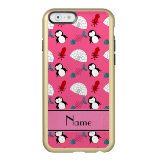 Personalized name pink penguins igloo fish squid incipio feather shine iPhone 6 case