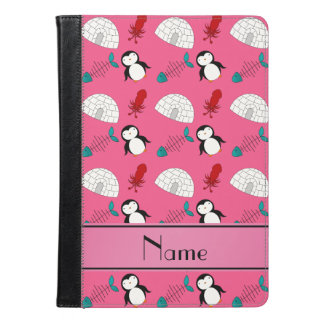 Personalized name pink penguins igloo fish squid iPad air case