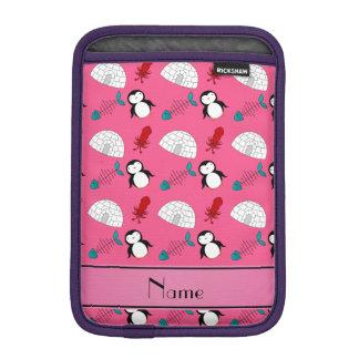 Personalized name pink penguins igloo fish squid iPad mini sleeves