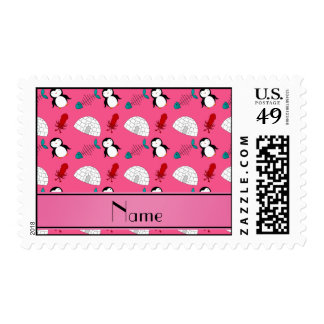 Personalized name pink penguins igloo fish squid postage