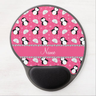 Personalized name pink penguins igloos snowflakes gel mouse pad