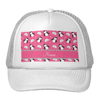 Personalized name pink penguins igloos snowflakes trucker hat
