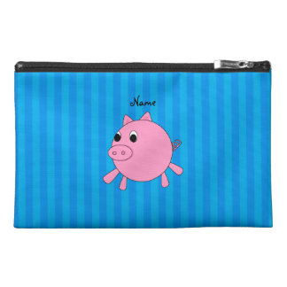 Personalized name pink pig blue stripes travel accessory bags