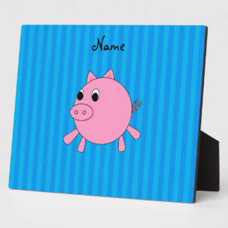 Personalized name pink pig blue stripes display plaques