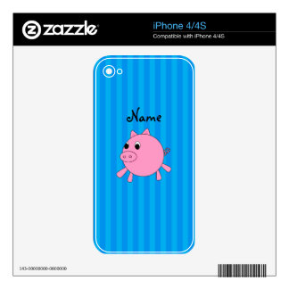Personalized name pink pig blue stripes decal for iPhone 4
